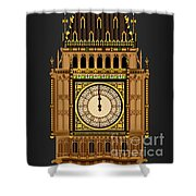 Big Ben Striking Midnight Shower Curtain