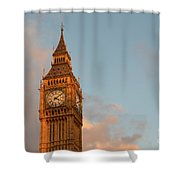 Big Ben Tower With Blue Sky And Some Clouds Shower Curtain