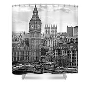 Big Ben With Westminster Abbey Shower Curtain by Joe Winkler