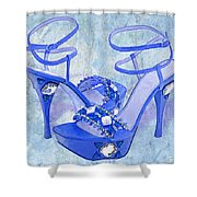 Big Blue Bling  Shower Curtain