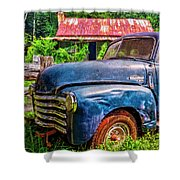 Big Blue Chevy At The Farm Shower Curtain