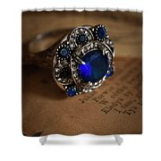 Big Blue Ornamented Ring Shower Curtain