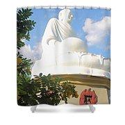 Big Buddha Statue At The Long Son Pagoda In Nha Trang Vietnam Shower Curtain