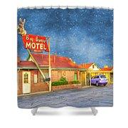 Big Bunny Motel Shower Curtain by Juli Scalzi