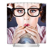 Big Business Kid Making Phone Call With Tin Cans Shower Curtain