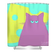 Big Cheese Lilac Cat Shower Curtain