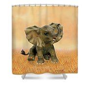 Beautiful African Baby Elephant Shower Curtain