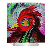 Big Fat Red Hen Shower Curtain