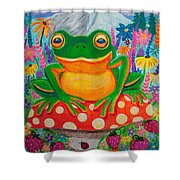 Big Green Frog On Red Mushroom Shower Curtain by Nick Gustafson