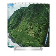 Big Island Waterfall Shower Curtain
