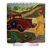 Big Mama Red Truck Shower Curtain