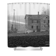 Big Old House In Fog - Bw Shower Curtain