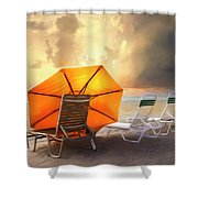 Big Orange Beach Umbrella Watercolor Painting Shower Curtain