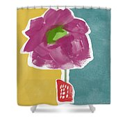 Big Purple Flower In A Small Vase- Art By Linda Woods Shower Curtain