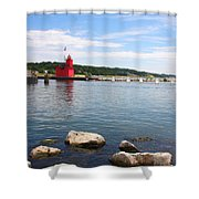 Big Red Light On The Lake Shower Curtain