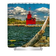 Big Red Lighthouse In Michigan Shower Curtain
