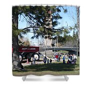 Big Red Wagon In Riverfront Park Shower Curtain