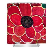 Big Red Zinnia Flower Shower Curtain