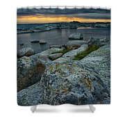 Big Rocks And Storm Clouds Shower Curtain