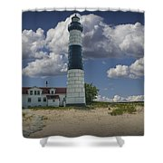 Big Sable Lighthouse Under Cloudy Blue Skies Shower Curtain