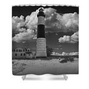 Big Sable Lighthouse Under Cloudy Skies Shower Curtain