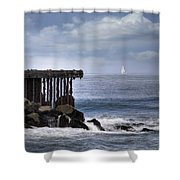 Big Sea Small Boat Shower Curtain