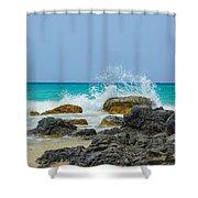 Big Splash On Rocks Of Playa Brava Shower Curtain