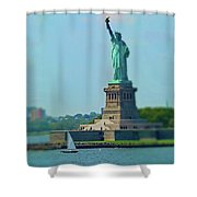 Big Statue, Little Boat Shower Curtain
