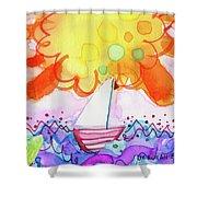 Big Sun And Sailboat Shower Curtain