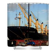 Big Tanker In The Harbor Shower Curtain