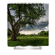 Big Tree - Tall Cottonwood And Storm In Texas Panhandle Shower Curtain