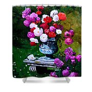 Big Vase With Peonies Shower Curtain
