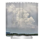 Big White And Puffy Shower Curtain