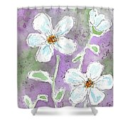 Big White Flowers Shower Curtain