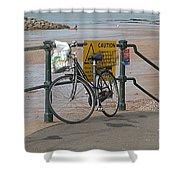 Bike Against Railings Shower Curtain