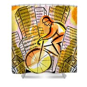 Bike And The City Shower Curtain