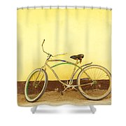 Bike And Yellow Wall Shower Curtain