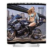 Bike, Babe, And Bridge In The Big Apple Shower Curtain