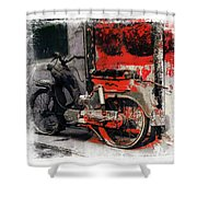 Bike Flat Tire Abandoned India Rajasthan Blue City 2a Shower Curtain