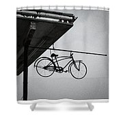 Bike In The Air Shower Curtain