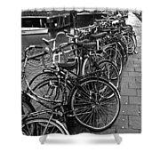 Bike Parking -- Amsterdam In November Bw Shower Curtain