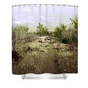 Bike Path Brown Shower Curtain