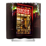 Bike Shop Window Shower Curtain