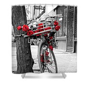 Bike With Red Roses Shower Curtain