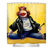 Biker Dude Made Of Sockies Shower Curtain