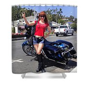 Biker Girl. Model Sofia Metal Queen Shower Curtain