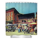 Bikes And Brews A Vintage Postcard Shower Curtain
