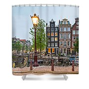 Bikes And Houses Along Canal At Dusk Shower Curtain