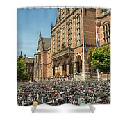 Bikes In Front Of Dutch University Shower Curtain