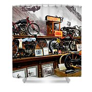 Bikes On A Wall Shower Curtain